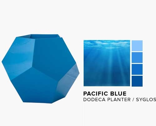 Dodeca Planter in the NEW Pacific Blue Syglos Finish
