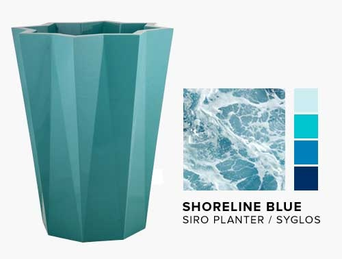 Siro Planter in the NEW Shoreline Blue Syglos Finish